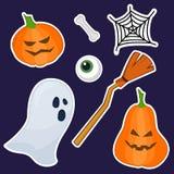 Etiquetas engomadas de Halloween hechas de la pintura de la mano stock de ilustración