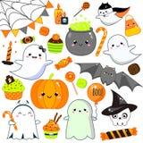 Etiquetas engomadas de Halloween, remiendos, insignias Calabaza linda, fantasmas, palo y otros símbolos del día de fiesta en el e libre illustration