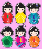 Etiquetas engomadas de Kokeshi stock de ilustración