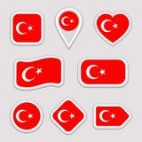 Etiquetas engomadas de la bandera de Turquía fijadas Insignias turcas de los símbolos nacionales Iconos geométricos aislados El f stock de ilustración