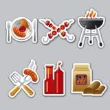 Etiquetas engomadas de la barbacoa Imagen de archivo libre de regalías
