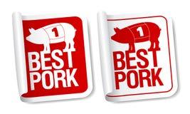 Etiquetas engomadas de la carne de cerdo. Fotos de archivo