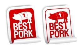 Etiquetas engomadas de la carne de cerdo. Imagen de archivo libre de regalías