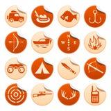 Etiquetas engomadas de la caza y de la pesca Imágenes de archivo libres de regalías