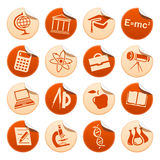 Etiquetas engomadas de la ciencia y de la educación Ilustración del Vector