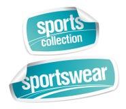 Etiquetas engomadas de la colección de la ropa de deportes Imagen de archivo