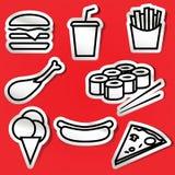 Etiquetas engomadas de la comida rápida Foto de archivo libre de regalías