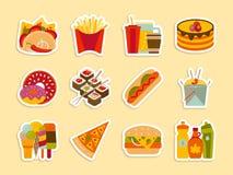 Etiquetas engomadas de la comida rápida y del streetfood fijadas Fotografía de archivo libre de regalías