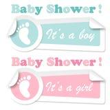 Etiquetas engomadas de la ducha de bebé Fotos de archivo