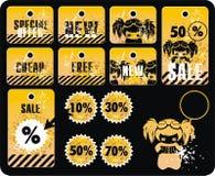 Etiquetas engomadas de la etiqueta de la venta del vector Imagen de archivo libre de regalías