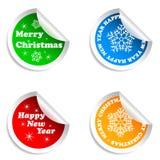 Etiquetas engomadas de la Feliz Navidad y de la Feliz A?o Nuevo fijadas. Imágenes de archivo libres de regalías