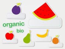 Etiquetas engomadas de la fruta Foto de archivo libre de regalías