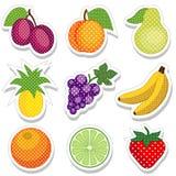 Etiquetas engomadas de la fruta Imagen de archivo libre de regalías