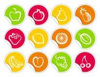 Etiquetas engomadas de la fruta Imagenes de archivo