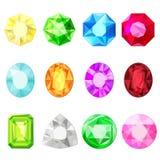 Etiquetas engomadas de la gema de los diamantes de las joyas del vector fijadas libre illustration