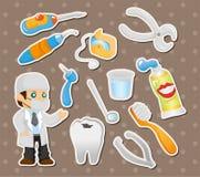 Etiquetas engomadas de la herramienta del dentista de la historieta ilustración del vector
