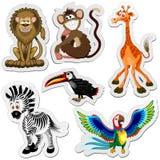 Etiquetas engomadas de la historieta de los animales salvajes aisladas en el ejemplo blanco del vector ilustración del vector