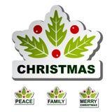 Etiquetas engomadas de la hoja del acebo de la Navidad Imágenes de archivo libres de regalías