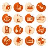 Etiquetas engomadas de la música Stock de ilustración