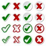 Etiquetas engomadas de la marca de cotejo Imágenes de archivo libres de regalías