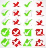 Etiquetas engomadas de la marca de verificación del vector Fotografía de archivo libre de regalías