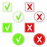 Etiquetas engomadas de la marca de verificación del vector Foto de archivo