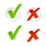 Etiquetas engomadas de la marca de verificación Fotografía de archivo