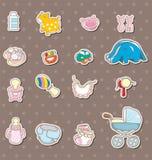 Etiquetas engomadas de la materia del bebé Foto de archivo