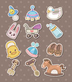 Etiquetas engomadas de la materia del bebé Imagenes de archivo