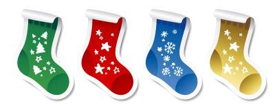Etiquetas engomadas de la media de la Navidad. stock de ilustración