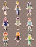 Etiquetas engomadas de la muchacha de la historieta Foto de archivo libre de regalías