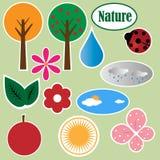 Etiquetas engomadas de la naturaleza - vector stock de ilustración