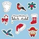 Etiquetas engomadas de la Navidad stock de ilustración