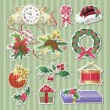 Etiquetas engomadas de la Navidad Foto de archivo