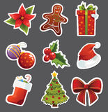 Etiquetas engomadas de la Navidad Fotos de archivo libres de regalías