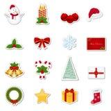 Etiquetas engomadas de la Navidad Foto de archivo libre de regalías