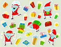 Etiquetas engomadas de la Navidad con las cajas lindas de Papá Noel y de regalo Invierno Fotos de archivo libres de regalías