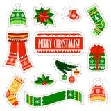 Etiquetas engomadas de la Navidad fijadas en el fondo blanco Etiquetas engomadas de la materia de niños del invierno fijadas Imagen de archivo libre de regalías
