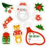 Etiquetas engomadas de la Navidad fijadas en el fondo blanco Sistema de elementos de Santa Claus Imagen de archivo