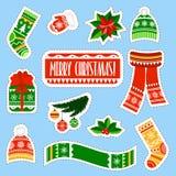 Etiquetas engomadas de la Navidad fijadas Etiquetas engomadas de la materia de niños del invierno fijadas Imagen de archivo libre de regalías