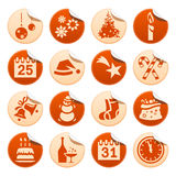 Etiquetas engomadas de la Navidad y del Año Nuevo Ilustración del Vector