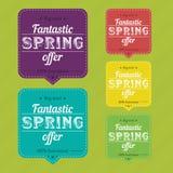 Etiquetas engomadas de la oferta de la primavera Foto de archivo libre de regalías