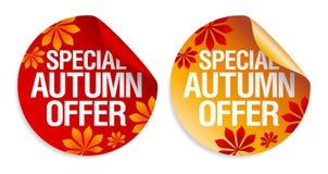 Etiquetas engomadas de la oferta del otoño. Imagen de archivo