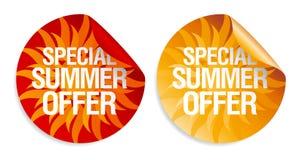 Etiquetas engomadas de la oferta del verano. Imagen de archivo