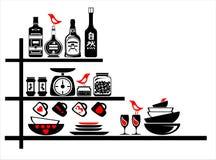 Etiquetas engomadas de la pared negras y estantes rojos de la cocina Imagen de archivo