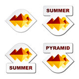 Etiquetas engomadas de la pirámide de Egipto del verano Foto de archivo