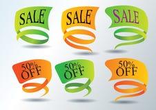 Etiquetas engomadas de la promoción de ventas e iconos del Web Foto de archivo libre de regalías