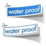 Etiquetas engomadas de la prueba del agua fijadas Foto de archivo libre de regalías