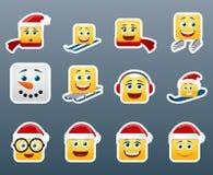Etiquetas engomadas de la sonrisa de Wnter fijadas Imágenes de archivo libres de regalías