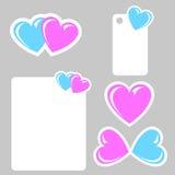 Etiquetas engomadas de la tarjeta del día de San Valentín con el corazón azul y rosado Fotografía de archivo libre de regalías